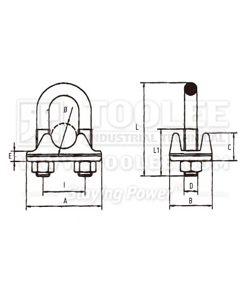 300 2107 Wire Rope Clip Italy Type drawing