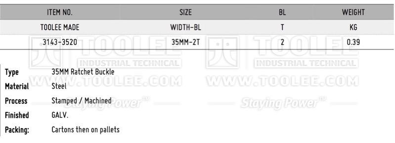 800 3143 1 5IN 35MM Ratchet Buckle DATA WM