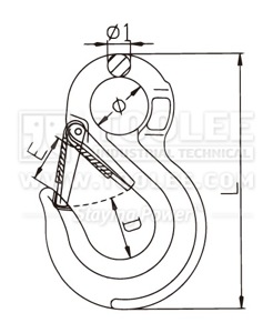 300 1221 Sling Hook Eye Type with Safety Latch G80 drawing