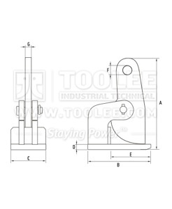 300 9206 FH Type Horizontal Plate Lifting Clamp Drawing