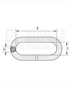 300 7001 alloy Lashing Chain Grade 80 Long Link drawing