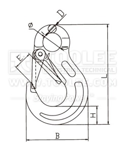 300 1223 Sling Hook Eye Type with Safety Latch European Type G80 drawing