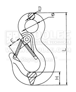 300 1225 Sling Hook Eye Type with Safety Latch Germany Type DIN7541 G80 drawing