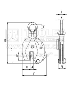 300 9207 CD CDE Type Vertical Lifting Clamp DSQ Model Drawing