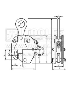 300 9209 CDH Type Vertical Lifting Clamp DSQH Model Drawing