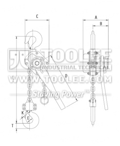 300 9051 lever Block HSH A Drawing