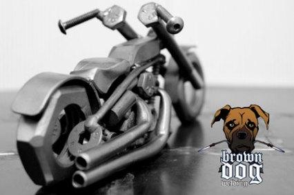 Brown Dog Welding Chopper Rear View