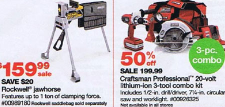 Sears Black Friday 2010 Friday & Saturday Rockwell Jawhorse and Craftsman 20V Tool Kit