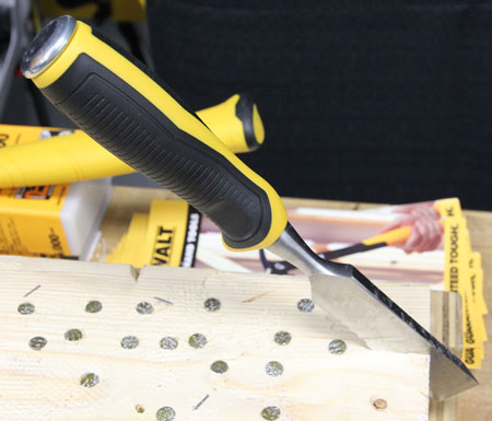 Dewalt Tough Side Strike Chisel Embedded in Wood
