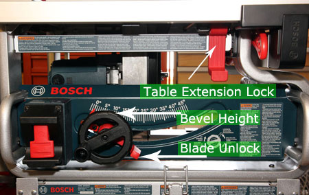 Bosch Saw Front and Attached to Stand