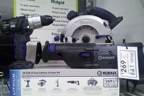 Lowes Kobalt Cordless Power Tools 18V Lithium Ion Combo Kit