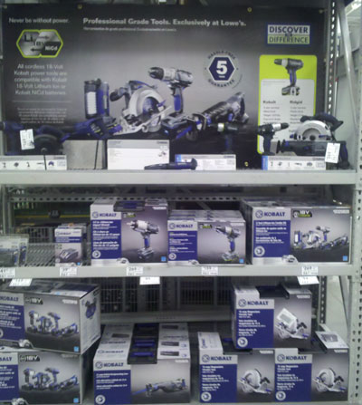 Lowes Kobalt Cordless Power Tools Display
