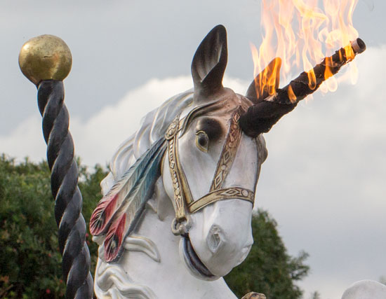 Maker Faire NYC 2012 Unicorn Horn on Fire