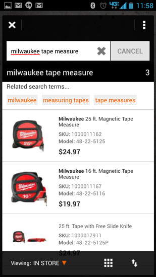 Home Depot Pro App Milwaukee Tape Measure Search
