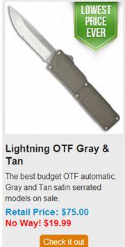Blade HQ Black Friday 2013 06 Lightning OTF Gray and Tan Deal