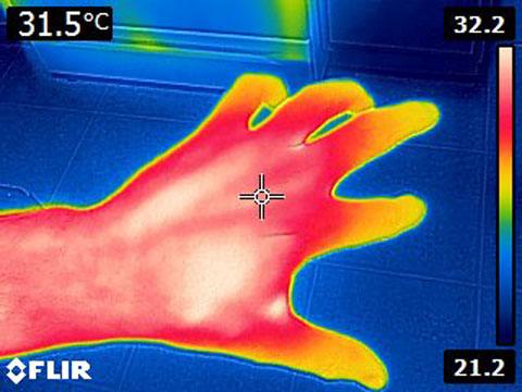 Flir E4 After Mod MSX Thermal Image of Hand