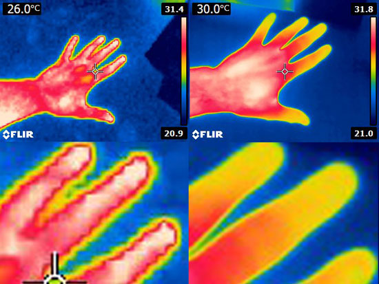 Flir E4 Thermal Imaging Camera Before and After Mod Comparison