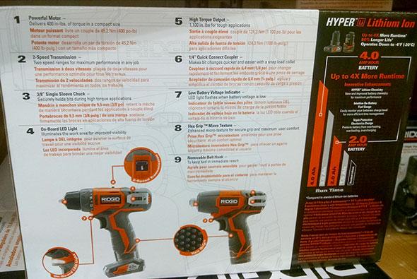 Ridgid R9000K 12V Drill Impact Driver Kit Back of Box