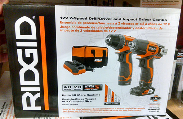 Ridgid R9000K 12V Drill Impact Driver Kit Box
