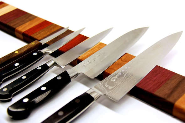 Rainbow Wood Magnetic Knife Strip by noahw on Instructables