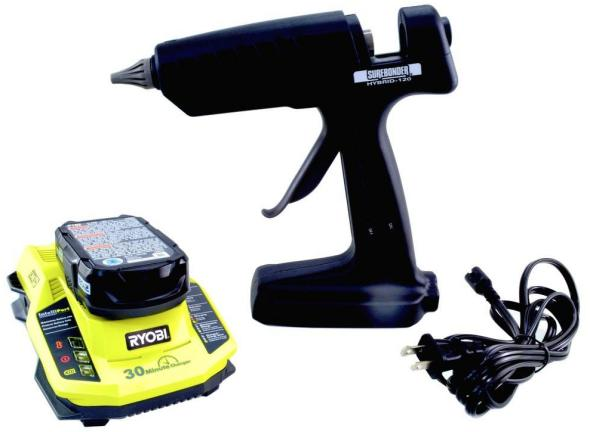 Home Depot Picture Surebonder Hybrid 120 Cordless Glue Gun Kit with Ryobi battery and charger