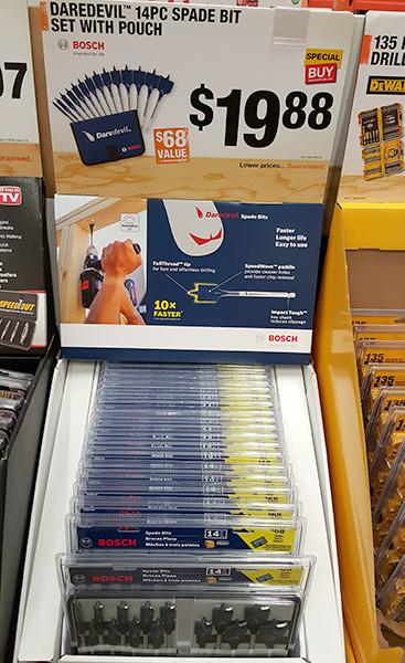 Bosch Daredevil 14pc Spade Drill Bit Set Display Home Depot Holiday 2015