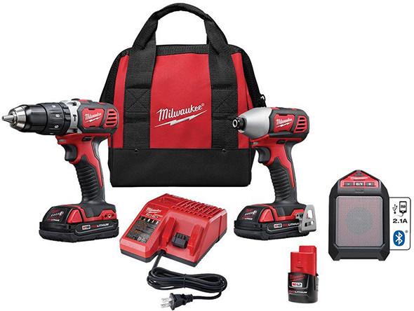 Milwaukee M18 Cordless Drill and Impact Plus M12 Speaker Combo