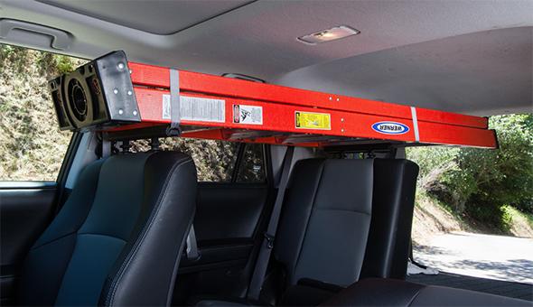 SeatRack Holding Ladder Inside Car