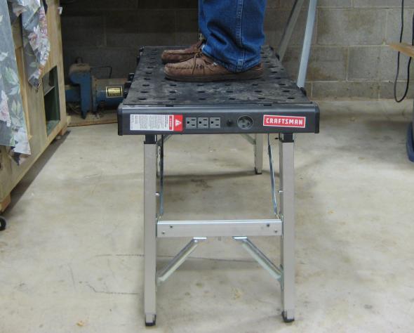 Standing on the Craftsman Peg Workbench