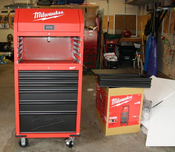 Milwaukee 30 inch rolling cabinet and tool chest with the drawers removed