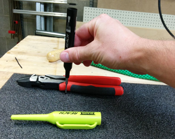 Using the Dixon Reach Deep Hole Marker to trace a tool on Kaizen Foam