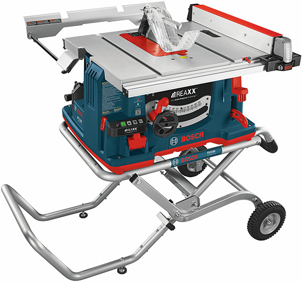 Bosch Reaxx Table Saw with Roller Stand