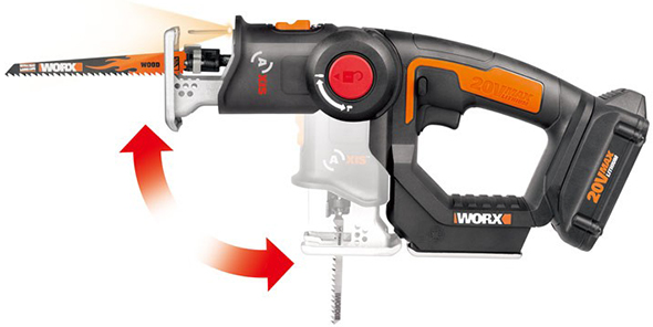 Worx Axis cordless reciprocating saw and jig saw product shot