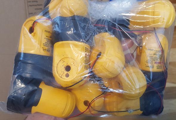 Bag of Dewalt 20V DCL040 LED Worklight Heads