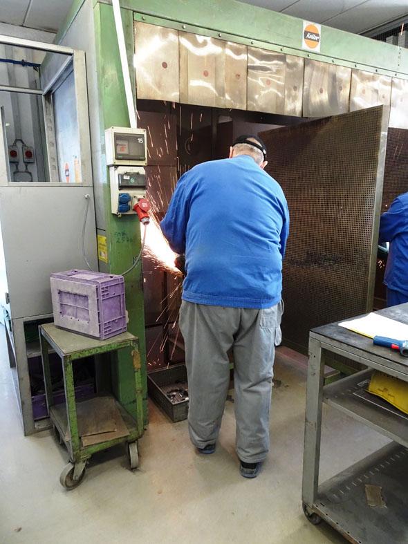 Metabo employee testing a cordless grinder