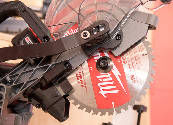 Milwaukee M18 Fuel Compact Sliding Miter Saw Guard Flipped up for Blade Changes