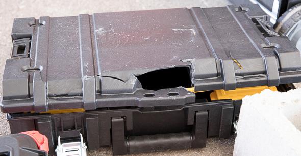 Smashed Dewalt ToughSystem Tool Box at Milwauke NPS17 Packout Demo