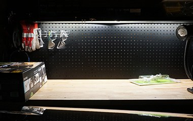 Under mount LED strip lighting on Husky Work Bench