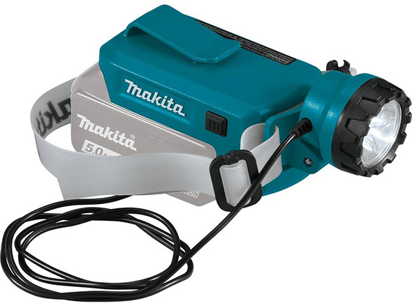 Makita DML800 18V LED Headlamp Attached to Battery Adapter