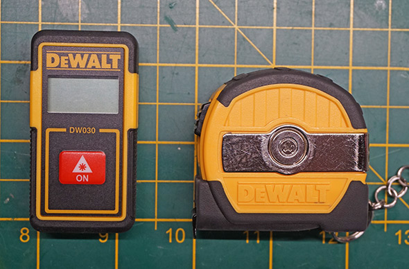 Dewalt DW030 laser distance measure size vs their 9 foot keychain tape