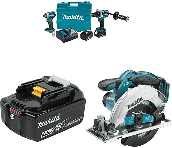 Makita 18V Drill Impact Driver Circular Saw and 6Ah Battery Bundle