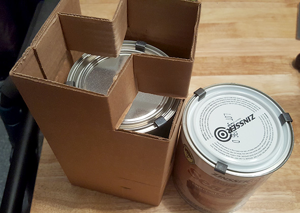 Wood Finish Quart Finish Cans Closed for Shipping