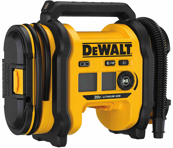 Dewalt 20V Max Cordless Inflator Side Compartment View