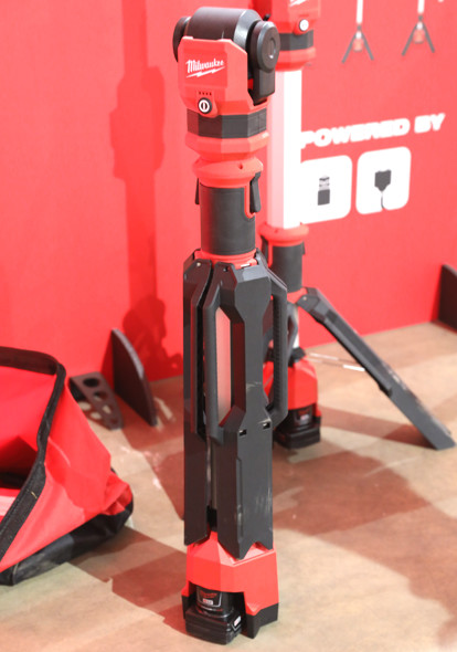 Milwaukee M12 Rocker Dual Power Tower light folded up