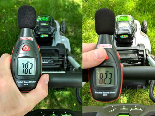 EGO Mower sound pressure level with stock and high lift blades