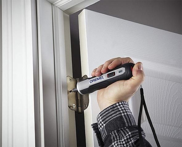 Dremel Go Cordless Screwdriver Installing Door Hinge Screws