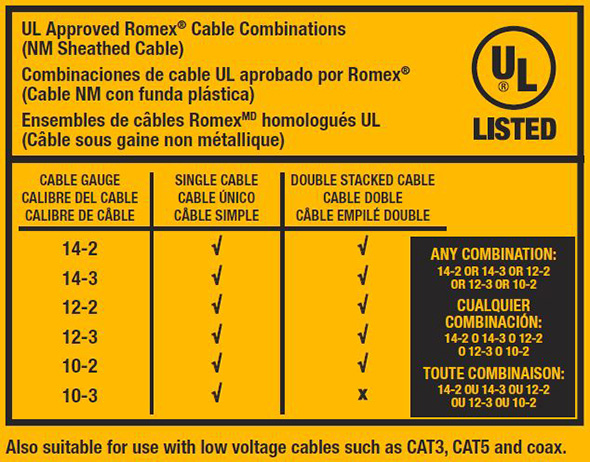 Dewalt Cordless Wiring Stapler DCN701 Approved Cable Combinations