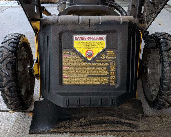 Dewalt 2x20V mower in rear discharge mode