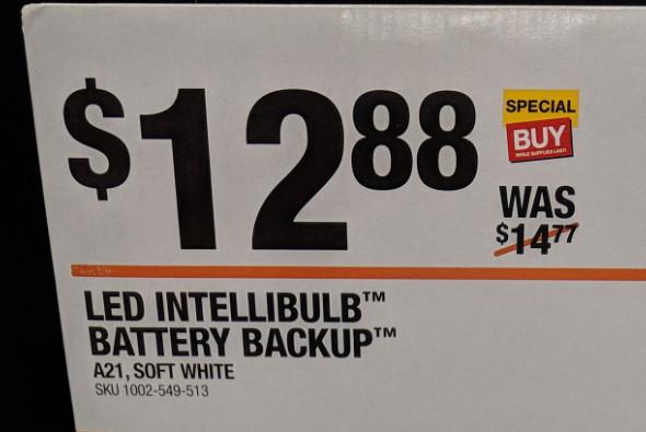 Feit Battery Backup Bulb at Home Depot