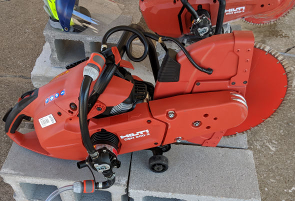 Hilti DSH 900-X gas saw with water pump attachment